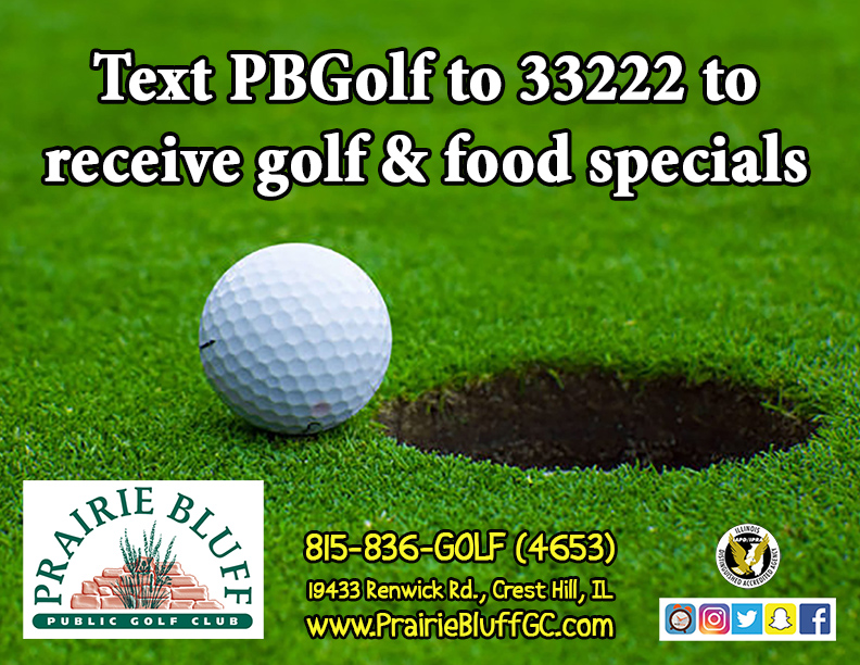 Text PBGolf to 33222 to receive golf & food specials!